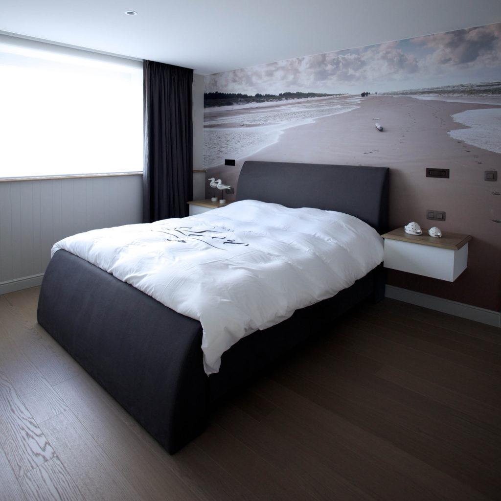 Geprinte afwasbare spanwand in slaapkamer