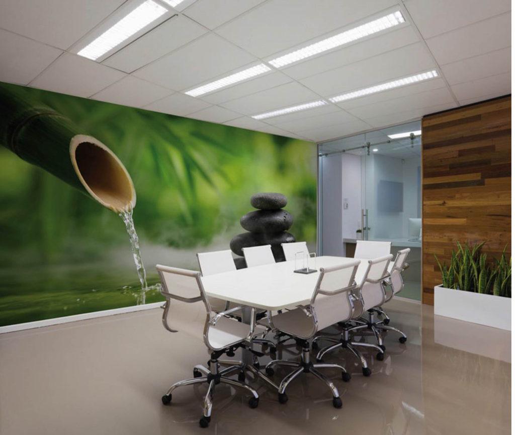 Bedrukte afwasbare spanwand in meeting room